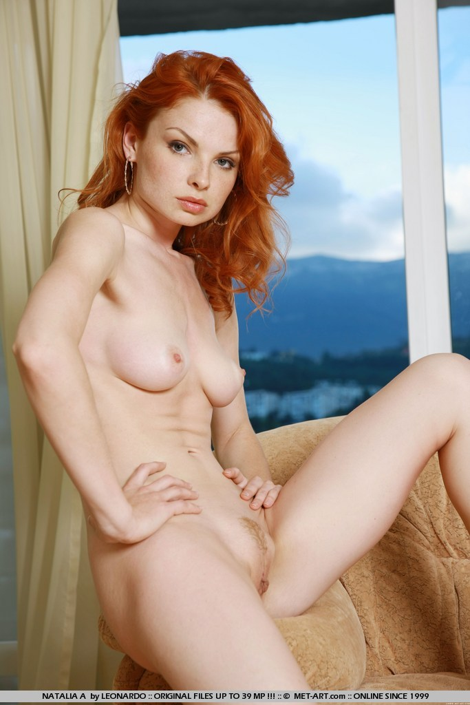 Freckles red girl and hair cum with