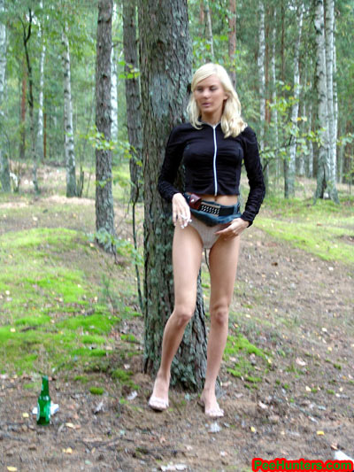 Nude girl pissing Public
