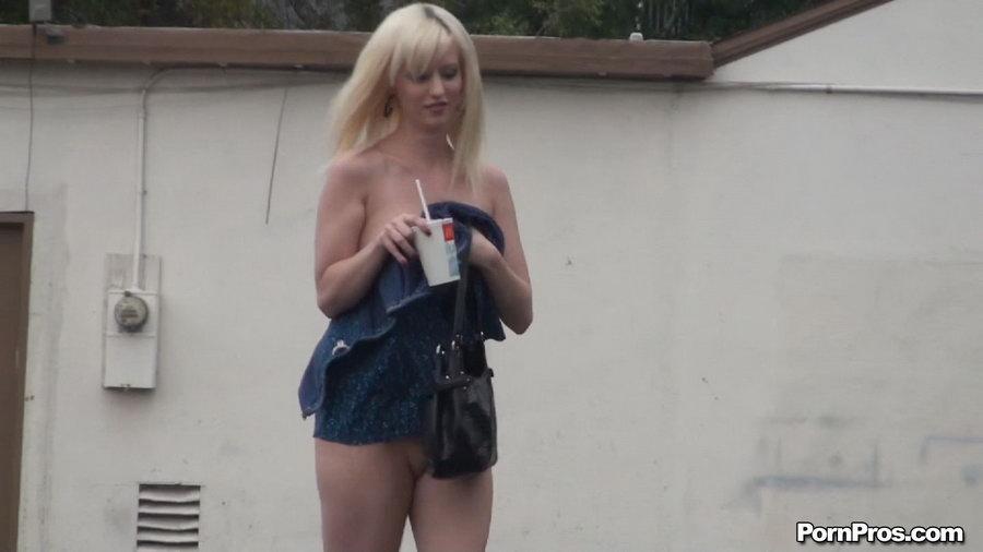 Shy milf nude in public