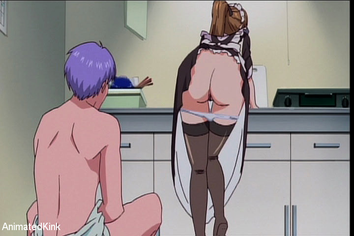 Leashed anime housemaid in sexy stockings satisfying her - Picture 4