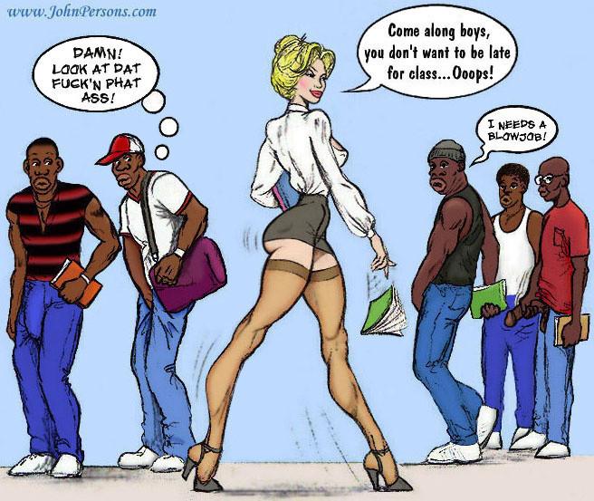 Slutty teacher in sexy short skirt jiggles her curvy butt ...