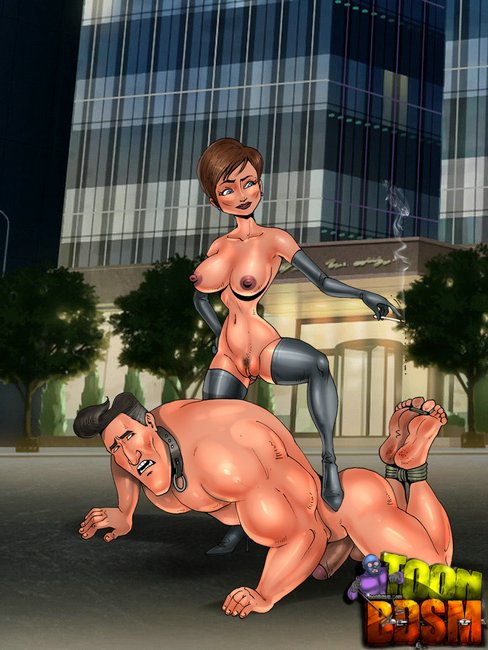 Restrained cartoon brunette forced to give a head and - Picture 2