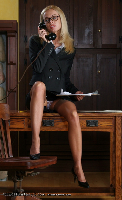 Hot blonde secretary with glasses