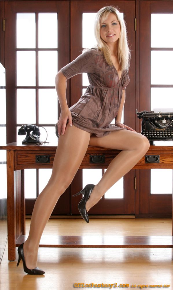 Secretary pantyhose office girl