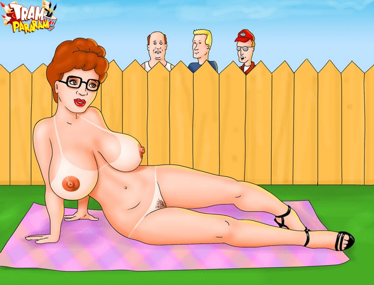 Nasty Peggy Hill teasing all naked backyard and then dildoing herself ..