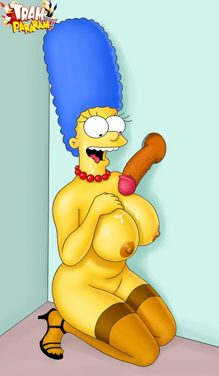 Big boobed Marge Simpson gets her tits cum covered through the gloryho..