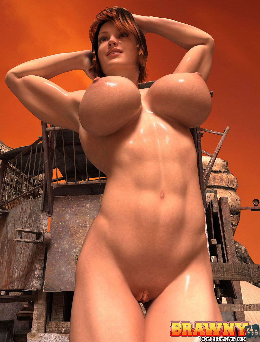 Busty muscular topless