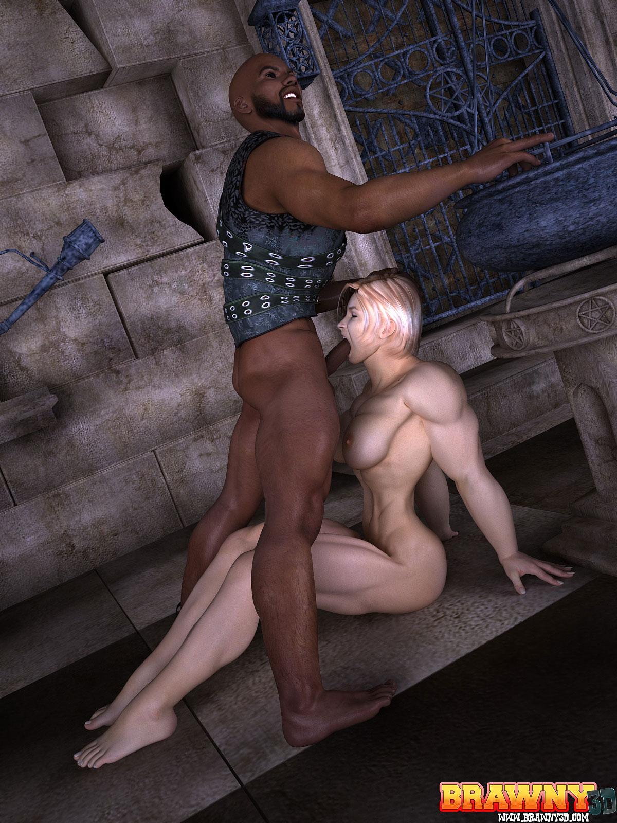 muscular busty blonde interracial