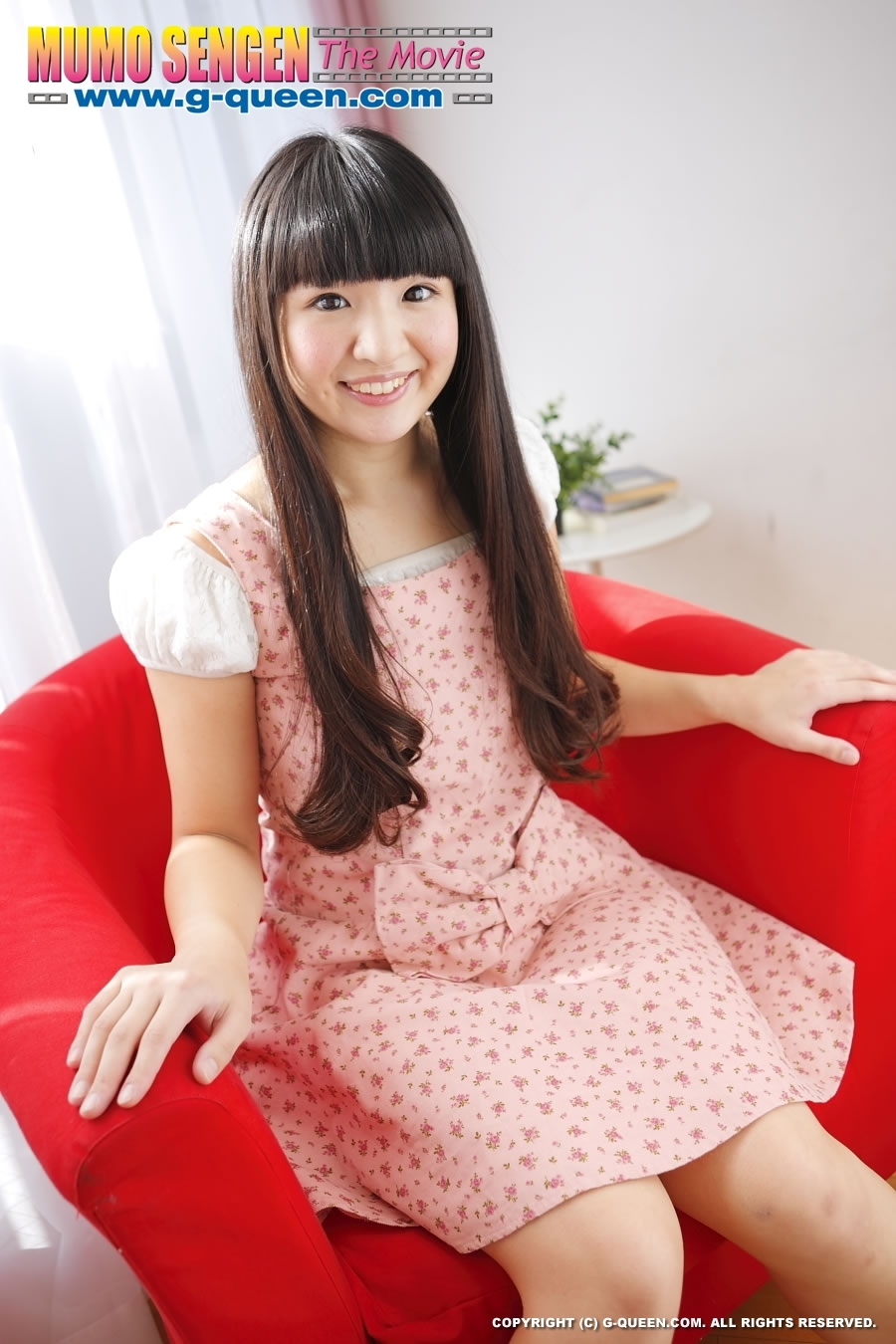 Pretty Japanese School Girl Posing On Red Armchair With Her Pussy Naked Xxxonxxx Pic