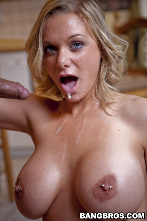 Busty blonde making love shower