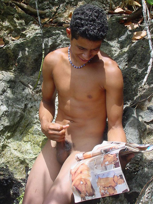 A robust young bronze latino sunbathing among the rocks and wanking that impossibly large dick of his until he cums - XXXonXXX - Pic 15