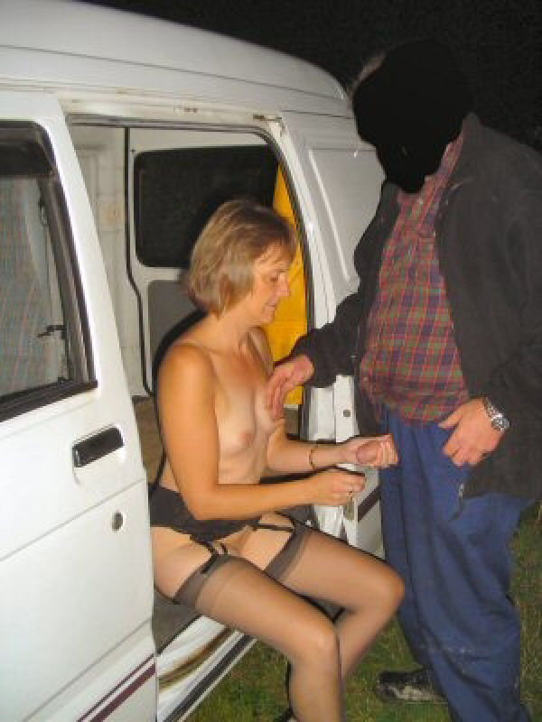 Nude granny in stockings banged eagerly in the van