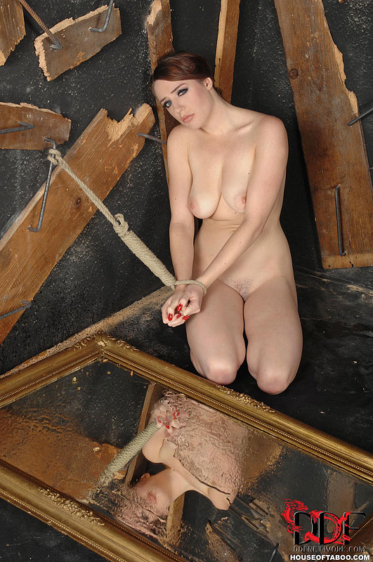Naked girl pissing on floor