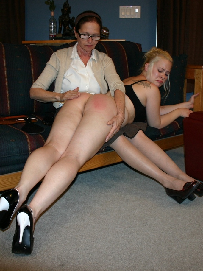 eve howard spanking party - This horny blonde loves getting round ass spanked by her glasses wearing  mother. - XXXonXXX