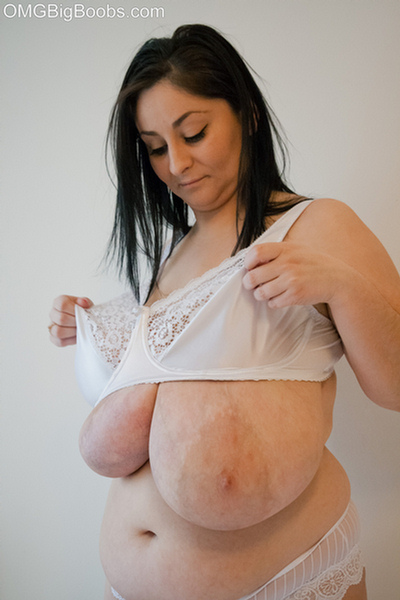 Dirty brunette bitch in a white lace lingerie with mega - Picture 12