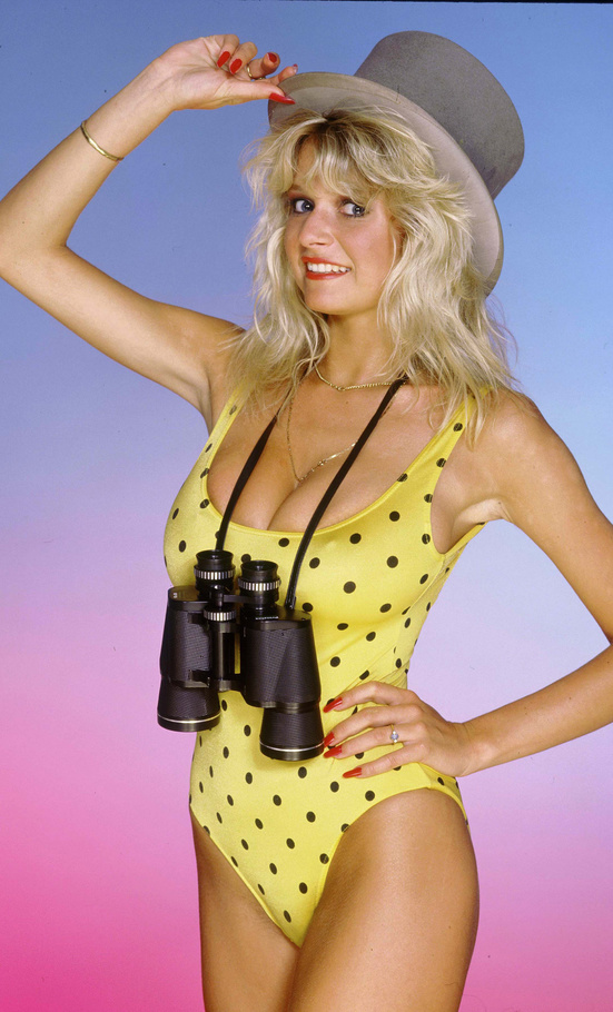Blond milf big tits polka dot