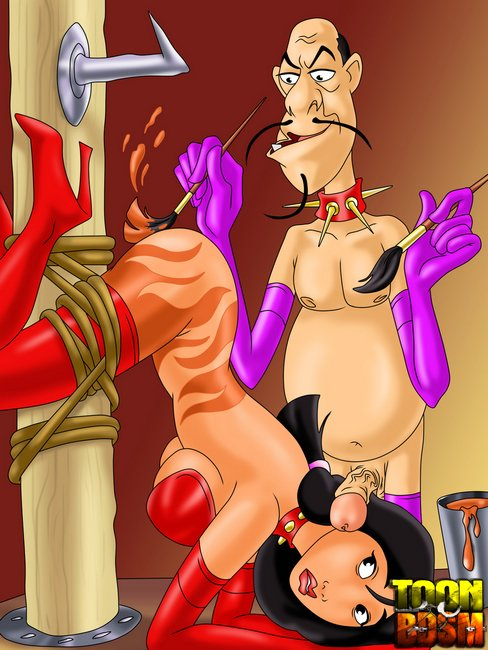 Mulan and Chi Fu enjoy kinky bondage, pins - Cartoon Sex - Picture 1