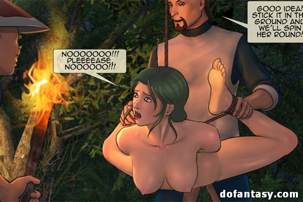 Bound and suspended cartoon brunette - BDSM Art Collection - Pic 4
