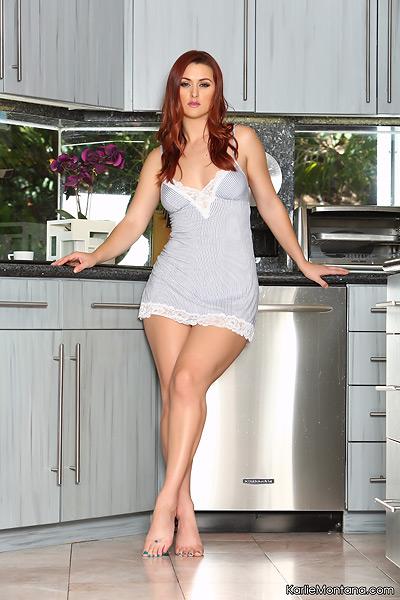 Redhead MILF Karlie Montana works her way free of hot lingerie ensemble  1387377