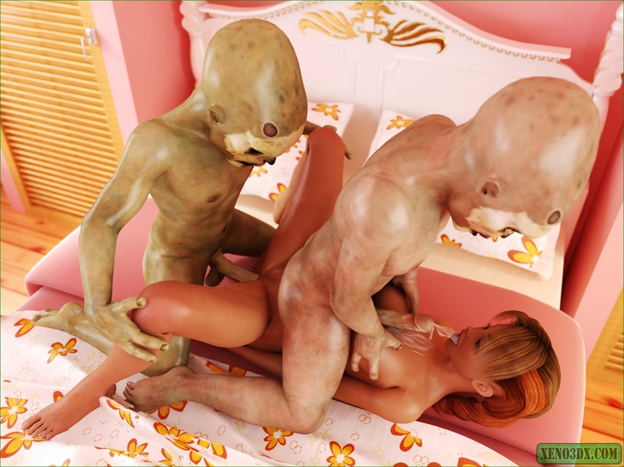 two young aliens fucking a busty girl so damn hard