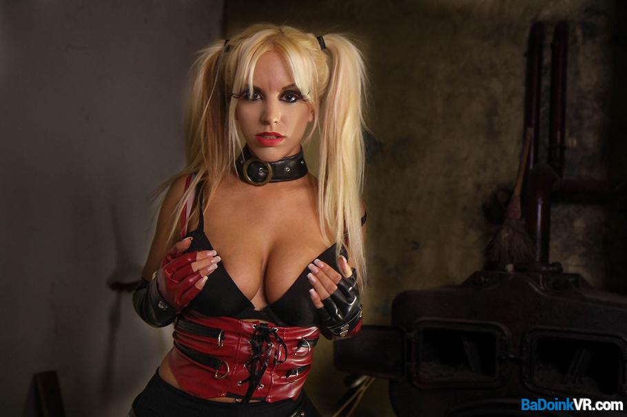 image Girl in red latex masturbates