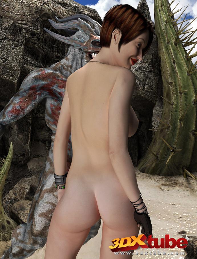Busty brunette gets taken prisoner by a horny demon - Picture 9