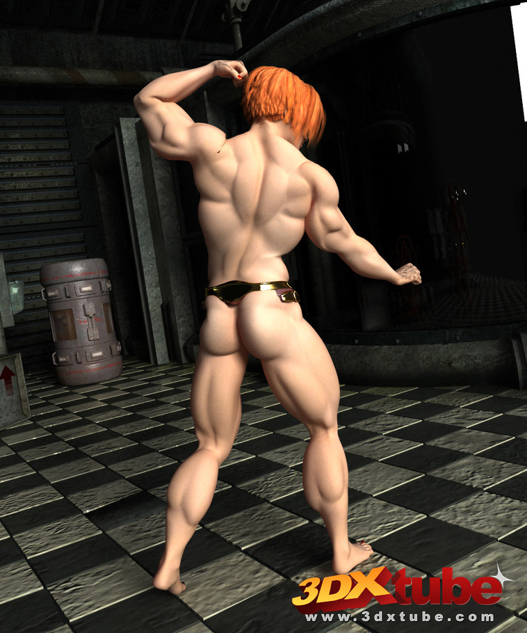 muscular ginger with humongous titties bends her body to show off her