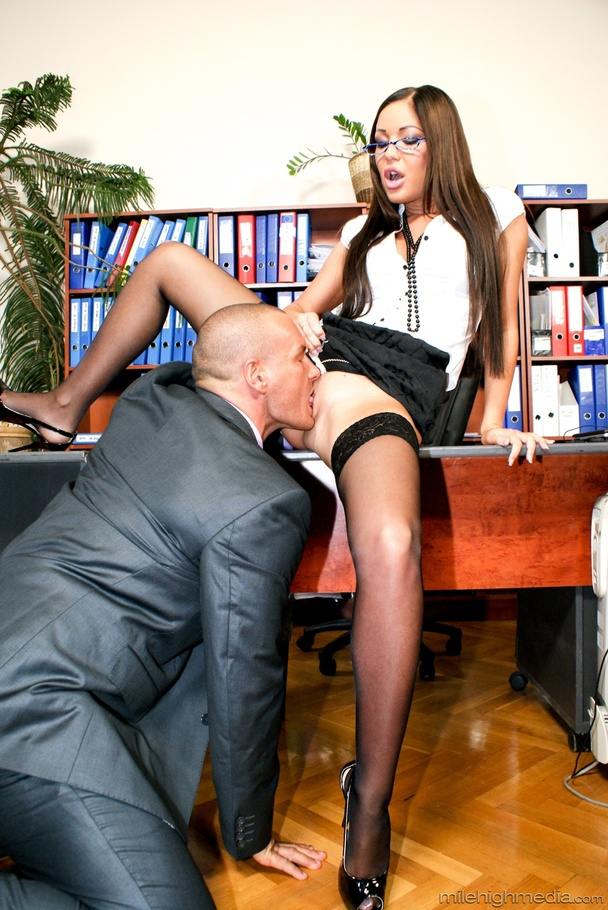 This sexy librarian sucks cock and spreads her legs for a bald guy -  XXXonXXX -