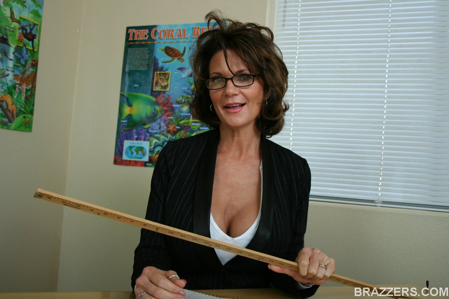 Hot and horny milf professor with tight jacket, sexy glasses and very big  tits gets dirty fuck in her office