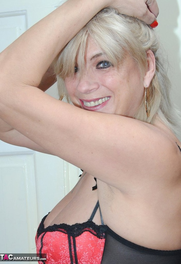 Blonde english mature in stockings teases 8