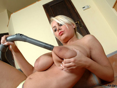 Lusty chubby housewife with heavy boobs playing with her - Picture 12