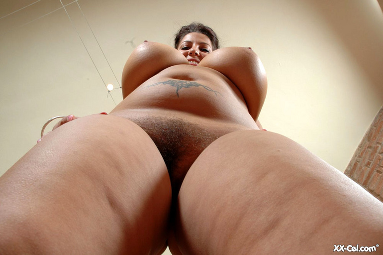 Hairy pussy BBW chick taking off her pink undies and - Picture 12