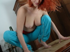 Hot redhead hottie milking her unbelievable boobies on a - Picture 8