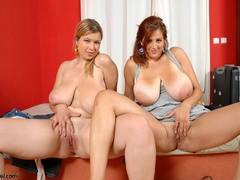 Two hot chubby stunners with heavy breasts sucking each - Picture 10
