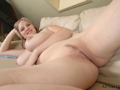 Big boobied smily chick slowly taking off her clothes - Picture 10
