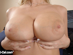 Stunning blonde beauty exposing her perfect big melons - Picture 12