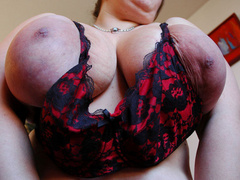 Big tittied brunette fat mom slowly taking off her tight - Picture 5