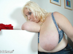BBW blonde housewife with enormous boobs exposing her - Picture 6