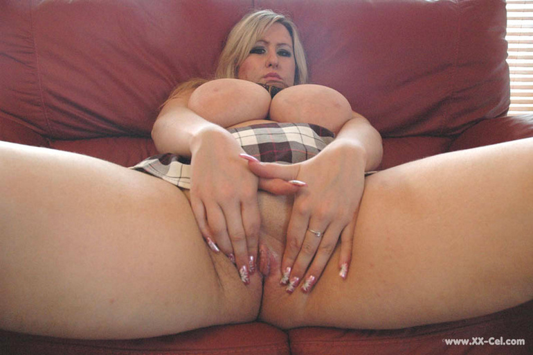 Lusty blonde plumper undressing and playing with her big - Picture 7