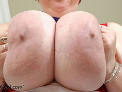 Lusty BBW wife likes to expose her enormous melons on a - Picture 8