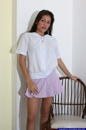 Larina slowly removes her school uniform to unveil her private treasures - XXXonXXX - Pic 1