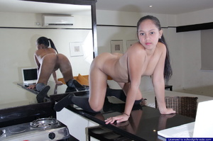 Young Ella strips from her school uniform and parade naked on her kitchen's counter - XXXonXXX - Pic 10