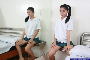 Mildred strips from her school uniform and spreads her legs to flash her pussy - XXXonXXX - Pic 2