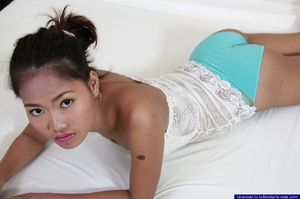 18 year old Jana spreads wide to flash her tight shaved brown love orifices - XXXonXXX - Pic 2