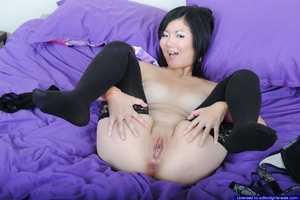 Chubby Chiyo proudly flashes her big boobies and spreads open her bald pussy - XXXonXXX - Pic 8