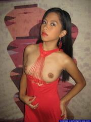 18yo Mia lifts her red nightie to unveil her tiny - XXXonXXX - Pic 4