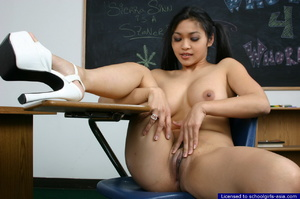 College student stripping in her classroom to flash her big boobies and her love holes - XXXonXXX - Pic 11