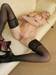 Hot blonde babe in sexy lingerie and - XXX Dessert - Picture 14