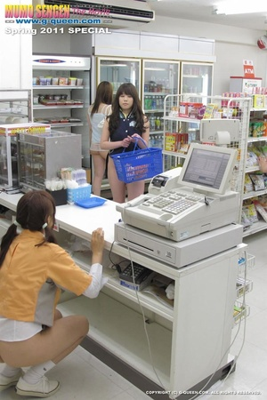 Teen Japanese shop assistants in the supermarket playing with sex toys during the lunch time - XXXonXXX - Pic 1