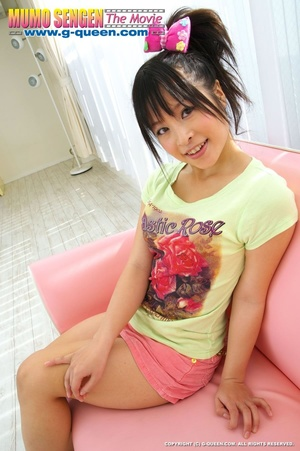 Japanese teen with funny ponytail and a bow stretches her little pussy - XXXonXXX - Pic 1